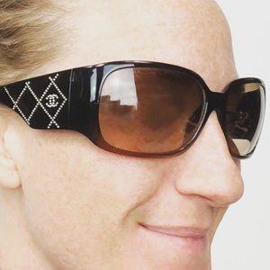 CHANEL 5080-B Swarovski Crystal Logo Sunglasses